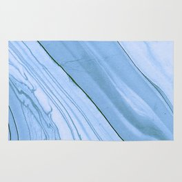 Currents of Blue Marble Pattern Rug