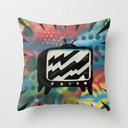 TV Static Graffiti Throw Pillow