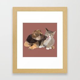 Low Poly German Shepard Puppy and Cat Framed Art Print