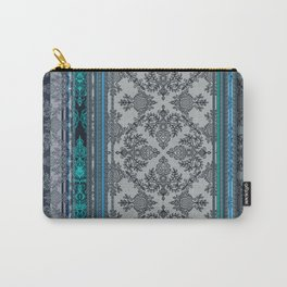 Teal, Aqua & Grey Vintage Bohemian Wallpaper Stripes Carry-All Pouch