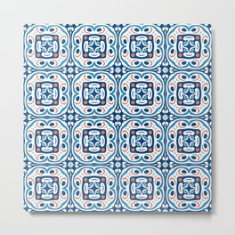 Abstract Flower Tile Pattern in Classic Blues Orange Gray Metal Print
