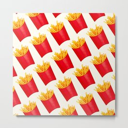 Fries Pattern - White Metal Print