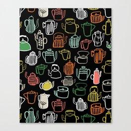 Kitchen Teapots - Multi by Andrea Lauren Canvas Print