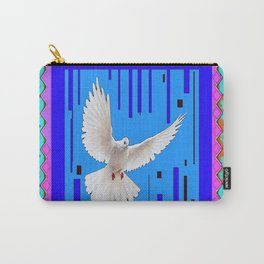 Peace Dove in Blue Ornate Art Pattern Carry-All Pouch