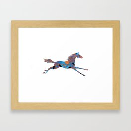 Blue Aztec Running Horse Framed Art Print