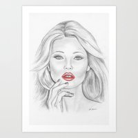 kate moss Art Prints featuring Kate Moss by Kim Jenkins