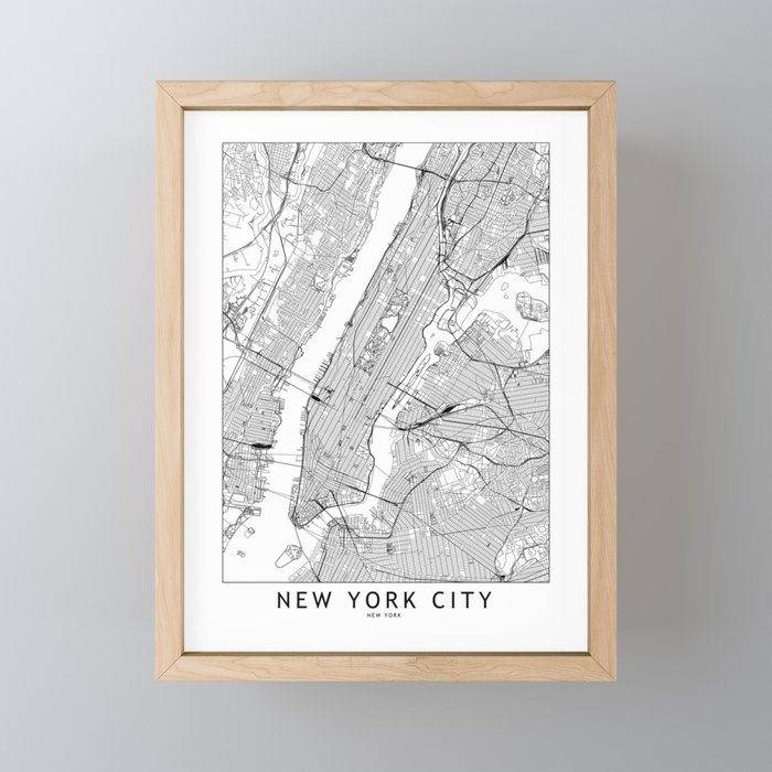 New York City White Map Framed Mini Art Print