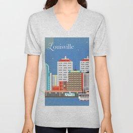 Louisville, Kentucky - Skyline Illustration by Loose Petals Unisex V-Neck