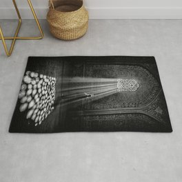Rays of Sun through medieval blind window tracery black and white photograph / art photography Rug