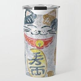 Watercolor Maneki Neko / Lucky Cat Travel Mug