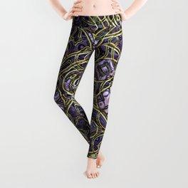 Violet Purple Faux Gold Victorian Swirls Pattern Leggings