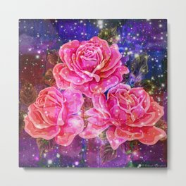 Roses with sparkles and purple infusion Metal Print