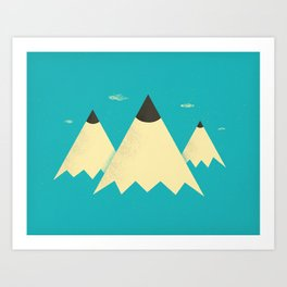 Pencil Mountains Art Print