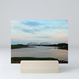Sackville Train Bridge at Sunset Mini Art Print