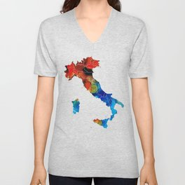Italy - Italian Map By Sharon Cummings Unisex V-Neck