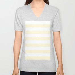 Horizontal Stripes - White and Cornsilk Yellow Unisex V-Neck