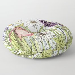 Lady Slipper Orchid Woodland Wildflower Watercolor Floor Pillow