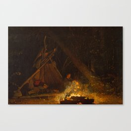 Camp Fire by Winslow Homer, 1880 Canvas Print