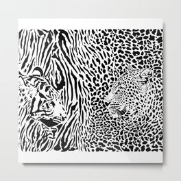 Tiger and Leopard and pattern background Metal Print