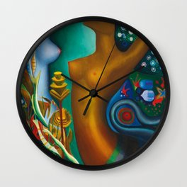 Mythological Sirens aquatic floral landscape by Joseph Stella Wall Clock