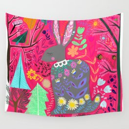 Folk Art Rabbit Wall Tapestry