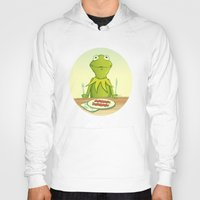 kermit Hoodies featuring Kermit Loves Facon by dellydel