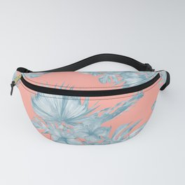 Dreaming of Hawaii Pale Teal Blue on Coral Pink Fanny Pack