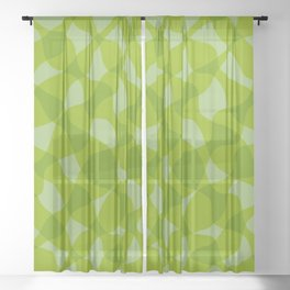 Green Wave Stripe Pattern Sheer Curtain