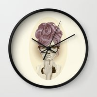 girl Wall Clocks featuring Fu*k U by Giulio Rossi