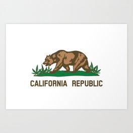 California Republic Bear with Marijuana Plants Art Print