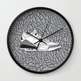Jordan 3 White Cement Wall Clock