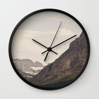 montana Wall Clocks featuring Montana Mountain by Kurt Rahn