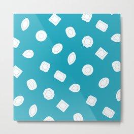 Blue Moissy Gem Pattern Metal Print
