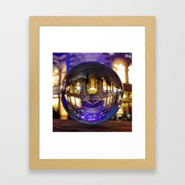 Winter scene through the crystal ball  / Glass Ball Photography Framed Art Print