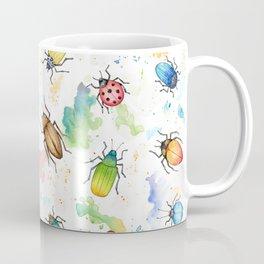 Watercolour Beetles rainbow paint texture pattern Coffee Mug
