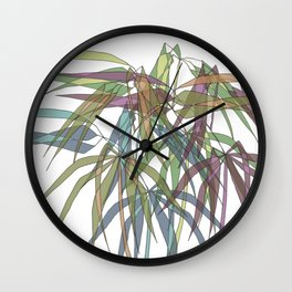 Bamboo Leaves - Multycolor Wall Clock