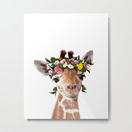 Baby Giraffe With Flower Crown, Baby Animals Art Print By Synplus Metal Print