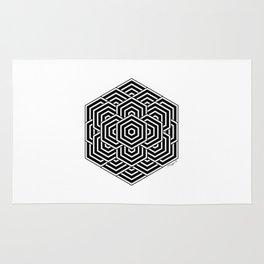 #3 Geometric Hexagon Black And White Rug