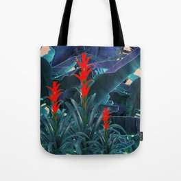 RED BROMELIAD FLOWERS & BLUE  JUNGLE LEAVES Tote Bag
