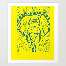 Friends of David Sheldrick Wildlife Trust - Yellow and Blue Elephant Print Art Print
