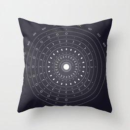 2019 Lunar Phases Calendar Throw Pillow