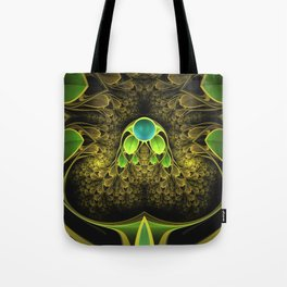 Beautiful Golden Fractal Feathers of the Quetzal Tote Bag