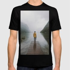 Mountain Lake Vibes - Landscape Photography Black SMALL Mens Fitted Tee