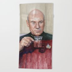 Tea. Earl Grey. Hot. Captain Picard Star Trek | Watercolor Beach Towel
