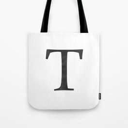 Letter T Initial Monogram Black and White Tote Bag