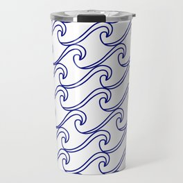 Rough Sea Pattern - blue on white Travel Mug