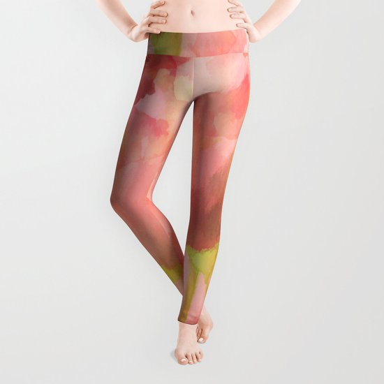 Delicate Pink Watercolor Floral Abtract Leggings