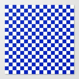Cobalt Blue and White Checkerboard Pattern Canvas Print