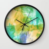 the strokes Wall Clocks featuring strokes by Carrie Baum