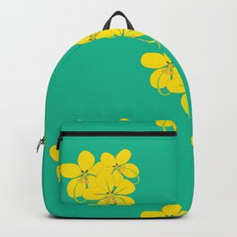 Golden shower flower on green teal seamless pattern Backpack